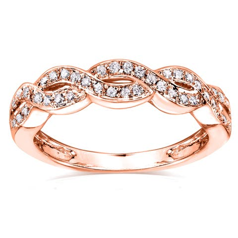 6c604ab9ce88 Annello by Kobelli 14k Rose Gold 1/8ct TDW Braided Wedding Band