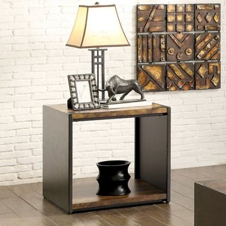 Furniture of America Talen Contemporary Open Base Two-tone Matte Black End Table