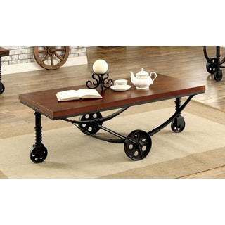 Furniture of America Rese Industrial Oak Metal Caster Coffee Table