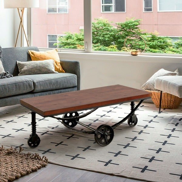 Furniture Of America Desland Industrial Caster Wheel Dark Oak Coffee Table