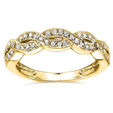 Annello by Kobelli 14k Yellow Gold 1/8ct TDW Braided Wedding Band