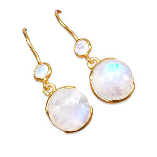 Handmade Gold Overlay Sterling Rainbow Moonstone Earrings (India) - White