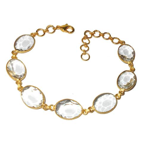 Handmade Gold Overlay Crystal Quartz Bracelet (India)