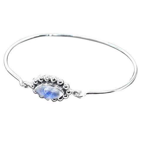 Handmade Sterling Silver Rainbow Moonstone Bangle Bracelet (India) - White