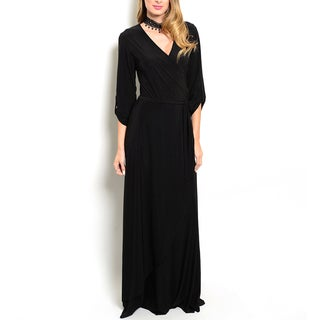 JED Women's Black 3/4-sleeve Stretchy V-neck Maxi Dress
