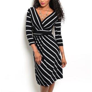 JED Women's Three-quarter Sleeve Striped Knee-length Dress