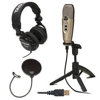 CAD Audio U37 USB Studio Recording Microphone with Knox Pop Filter & Headphones