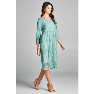 Spicy Mix Women's Juno Lace Overlay Scalloped Hem Midi Dress
