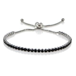 Mondevio Stainless Steel Sterling Silver Black Cubic Zirconia Adjustable Bracelet