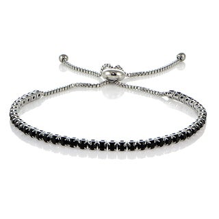 Mondevio Stainless Steel Sterling Silver Black Cubic Zirconia Adjustable Bracelet