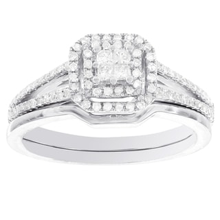 H Star 14k White Gold 3/8ct TDW Diamond Princess Cut Halo Bridal Set (I-J, I2-I3)