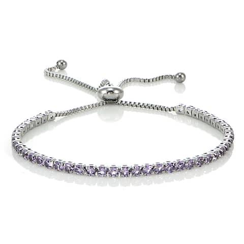 Glitzy Rocks Stainless Steel Sterling Silver Lavender Cubic Zirconia Adjustable Bracelet