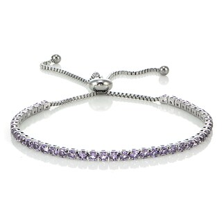 Glitzy Rocks Stainless Steel Sterling Silver Lavender Cubic Zirconia Adjustable Bracelet