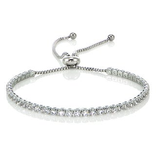 Glitzy Rocks Stainless Steel Sterling Silver Cubic Zirconia Adjustable Bracelet