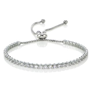 Glitzy Rocks Stainless Steel Sterling Silver Cubic Zirconia Adjustable Bracelet|https://ak1.ostkcdn.com/images/products/14515158/P21070291.jpg?impolicy=medium