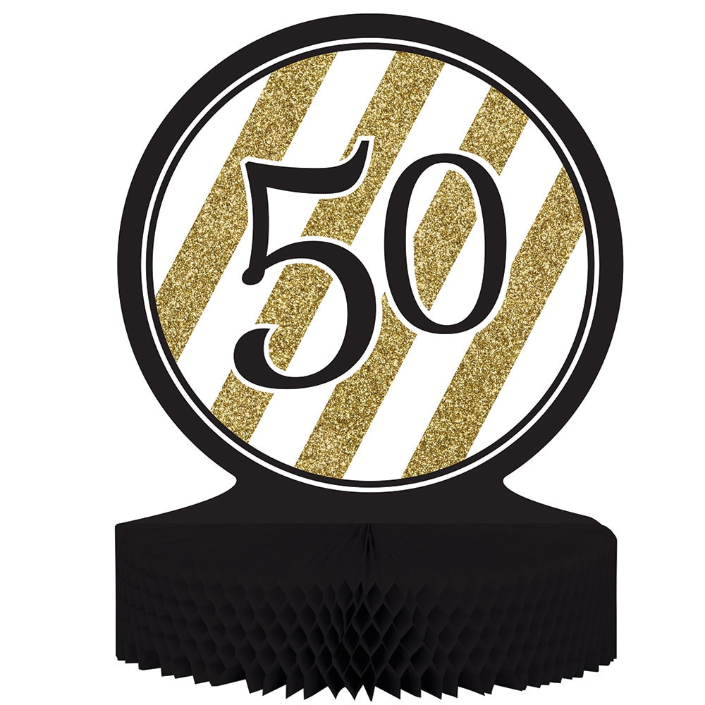 Creative Converting Black and Gold '50' Centerpiece (Pack...