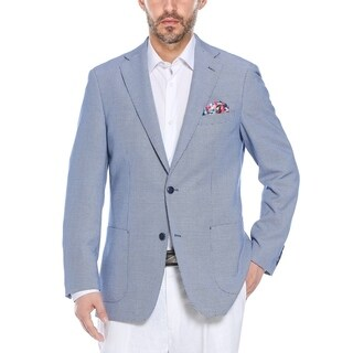 Verno Men's Navy/White Modern Houndstooth Classic-fit Blazer