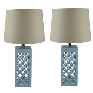 Kalia 24-inch Glazed Sea Blue Ceramic Table Lamps (Set of 2)