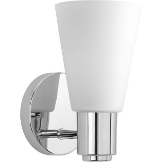 Progress Lighting Logic Collection Wall-mounted 1-light Bath Vanity Fixture with Etched Glass Shade