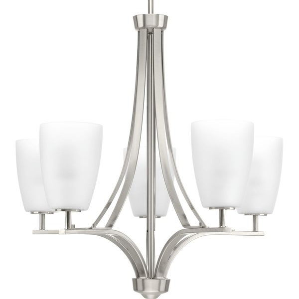 Leap Collection 5-Light Brushed Nickel Etched Opal Glass Modern Chandelier Light - N/A. Opens flyout.