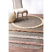 nuLOOM Casual Handmade Tribal Stripes Tassel Rug - 5' x 8'