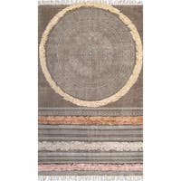 nuLOOM Casual Handmade Tribal Stripes Tassel Rug - 7'6 x 9'6