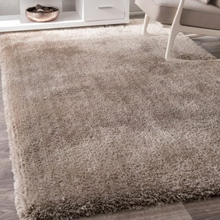 nuLOOM Causual Solid Soft and Plush Beige Shag Rug (7'6 x 9'6)