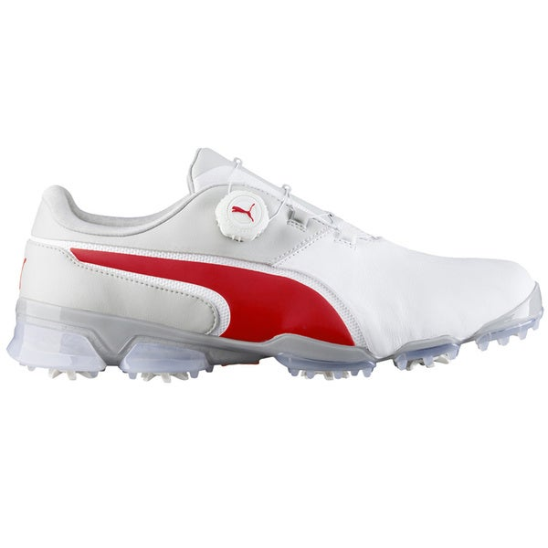 PUMA Titantour Ignite Disc Golf Shoes  White/High Risk Red