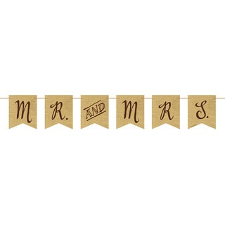 Rustic Wedding Mr. and Mrs. Burlap Pennant Banner with Twine (Pack of 6)