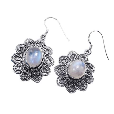 Handcrafted Sterling Silver Rainbow Moonstone Earrings (India) - White