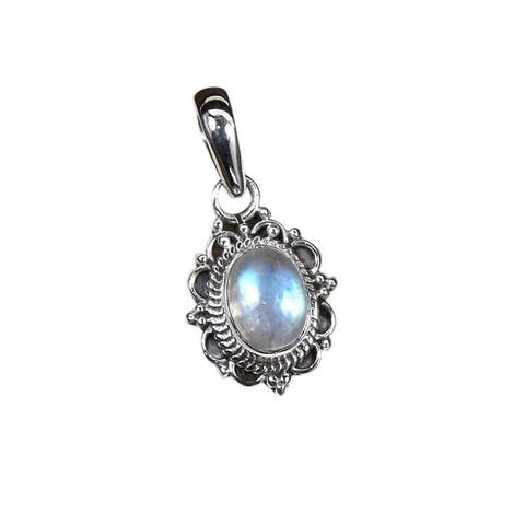 Handmade Sterling Silver Rainbow Moonstone Necklace (India)