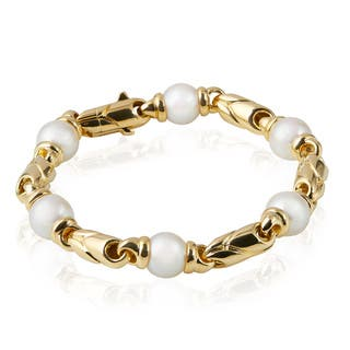 Pre-owned Bvlgari 18K Yellow Gold Pearl Bracelet|https://ak1.ostkcdn.com/images/products/14516349/P21070771.jpg?impolicy=medium