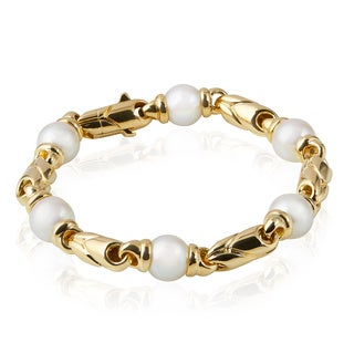 Pre-owned Bvlgari 18K Yellow Gold Pearl Bracelet