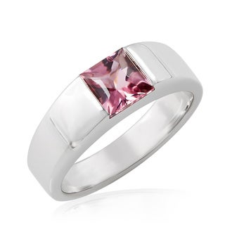 Pre-owned Cartier 18K White Gold Pink Tourmaline Tank Ring (Size 6)