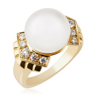 Pre-owned Christian Dior 18k Yellow Gold Pearl and 3/4ct TDW Diamond Ring (Size 3.5)