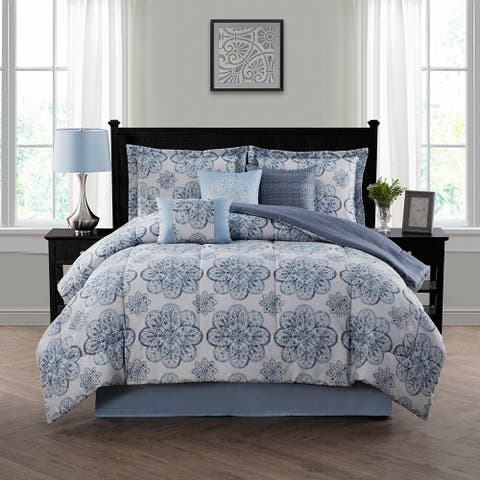 Style Decor Nastia Blue and Grey 7-piece Comforter Set
