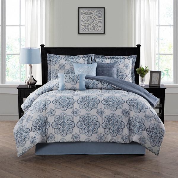 Style Decor Nastia Blue 7-piece Comforter Set