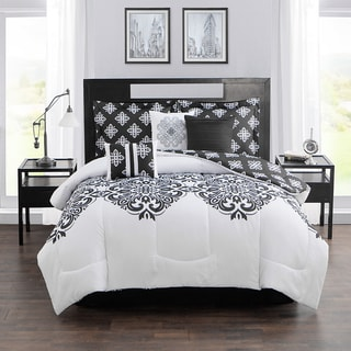 Style Decor Aly Black and White 7-piece Comforter Set