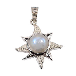 Handcrafted Sterling Silver Rainbow Moonstone Pendant Necklace (India)