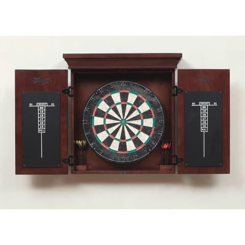 Athos Brown Wooden Dart Board Cabinet Set