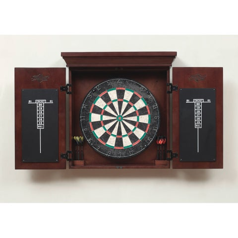 Athos Brown Wooden Dart Board Cabinet Set