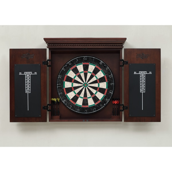 Cavalier Wood Dart Board Cabinet Set