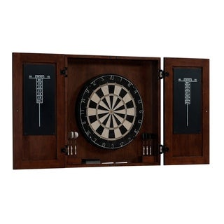 Turin Brown Wood and Steel Dart Board Cabinet Set