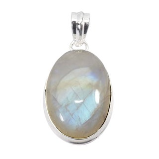 Handmade Sterling Silver Rainbow Moonstone Pendant Necklace (India) - White