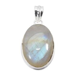 Handmade Sterling Silver Rainbow Moonstone Pendant Necklace (India)