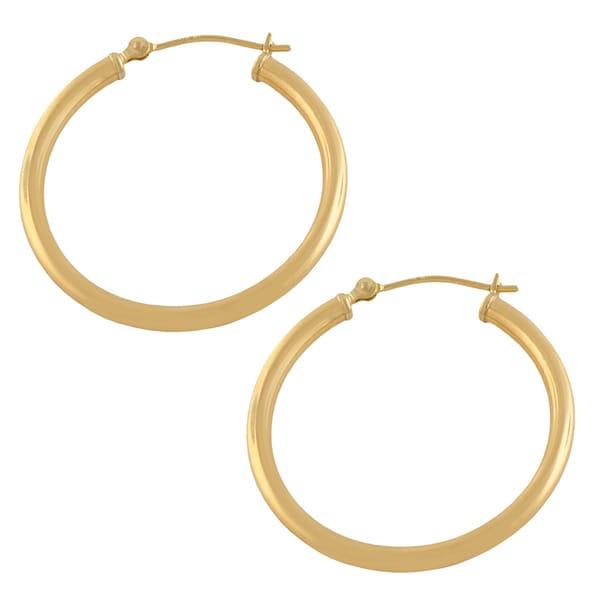 Fremada 10k Yellow Gold 2x28-mm Round Hoop Earrings