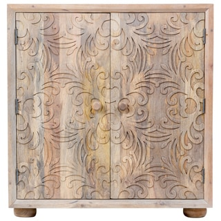 Wanderloot Florence Floral Carved Sustainable Solid Mango Wood Sideboard