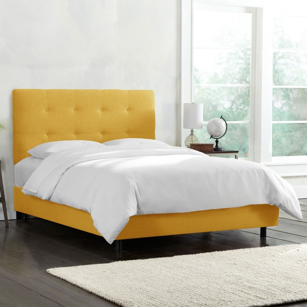 Skyline Furniture Button Tufted Linen Upholstered Bed