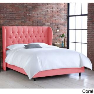 Skyline Furniture Tufted Linen Uphosltered Wingback Bed