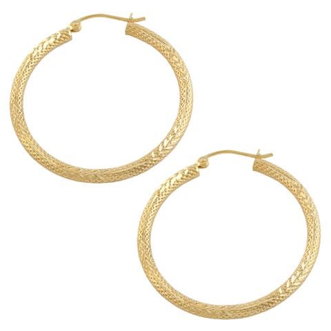 Fremada 10k Yellow Gold 2x34-mm Diamond-cut Round Hoop Earrings